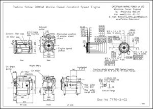 Perkins Sabre 700GM diesel engine installation Drawing