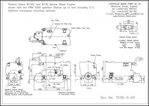 Perkins Sabre M130C diesel engine withPRM 500D transmission Drawing