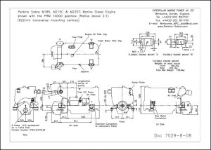 Perkins Sabre M185 diesel engine with PRM 1000D Gearbox Drawing
