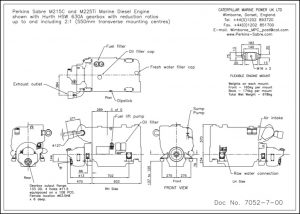 Perkins Sabre M215C diesel engine with HSW 630A transmission Drawing