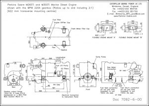 Perkins Sabre M265Ti diesel engine with MPM 220A Gearbox Drawing