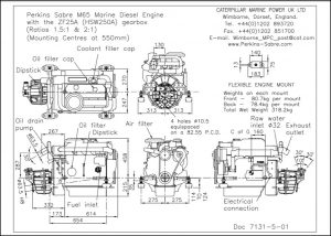 Perkins Sabre M65diesel engine with ZF25A Gearbox Drawing