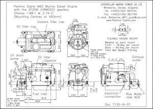 Perkins Sabre M65 diesel engine ZF25M Gearbox Drawing