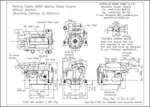 Perkins Sabre M85T diesel engine installation drawing (no geabox)