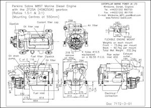 Perkins Sabre M85T diesel engine installed with ZF25A Gearbox Drawing