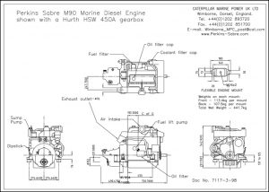 Perkins Sabre M90 diesel engine installed with Hurth HSW 450A Gearbox Drawing