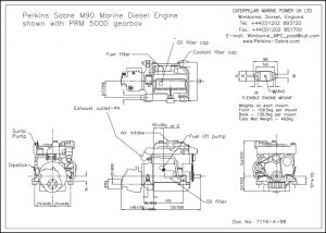 Perkins Sabre M90 diesel engine installed with PRM 500D Gearbox Drawing