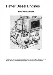 Petter Diesel Engines AB1W, AC1W Operation Manual