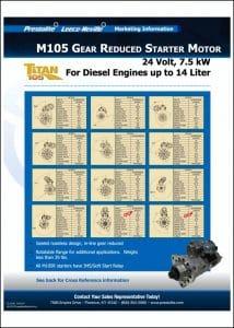 Prestolite M105 Starter 24v Info Sheet