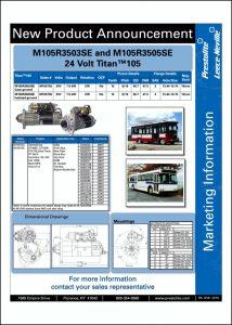 Prestolite M105R3503SE 24v Starter Info Sheet