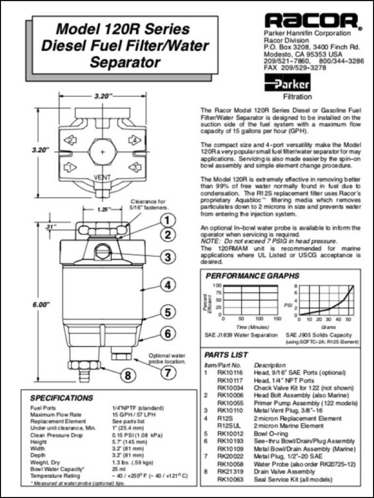 Racor 120R Diesel Fuel Filter Instructions