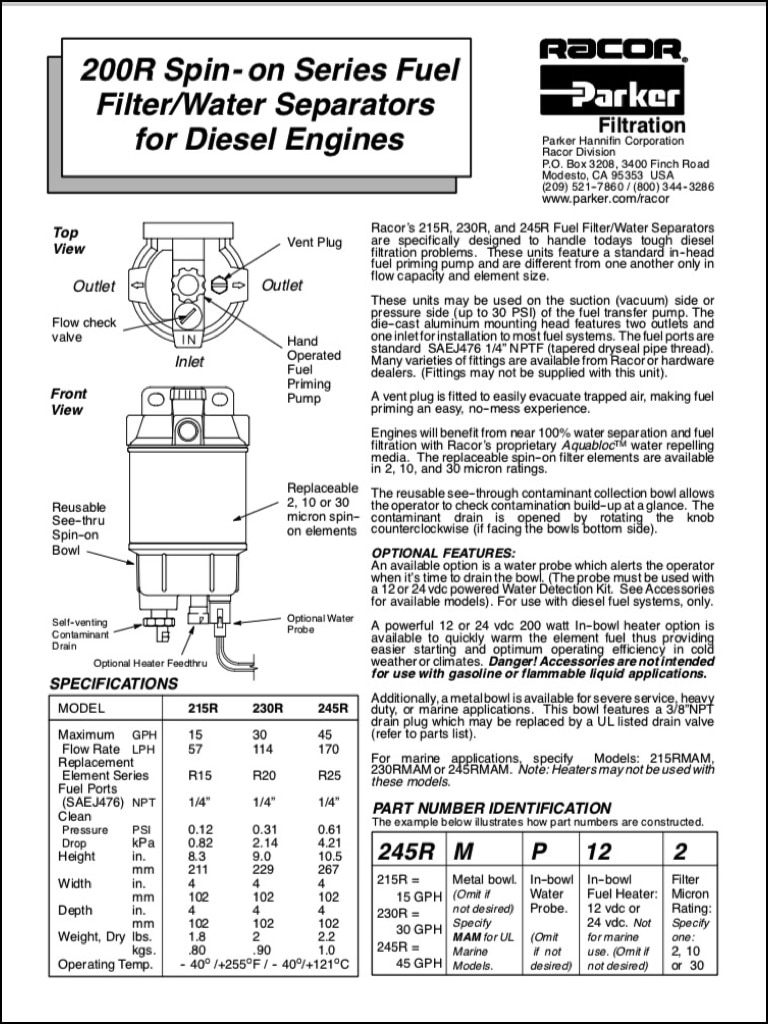 Racor 200R Diesel Fuel Filter Instructions