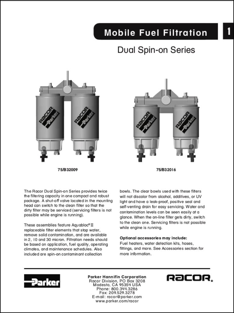 Racor Diesel Fuel Filter Dual Spin-on Series