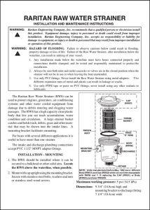 Raritan Raw Water Strainer Installation & Maintenance Instructions