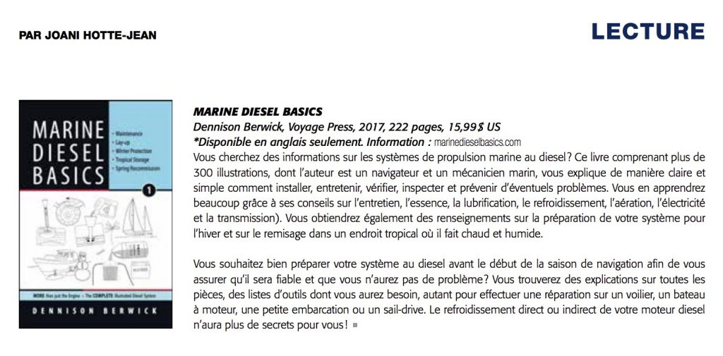Review of Marine diesel Basics 1 in Quebec Yachting fall 2017