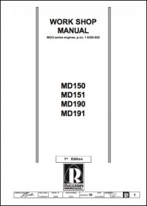cover of Ruggerini MD150 - 191 Workshop Manual
