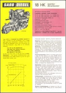 Sabb 18HK marine diesel engine Brochure in Danish