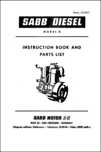 Sabb G diesel engine Instruction Book and Parts List