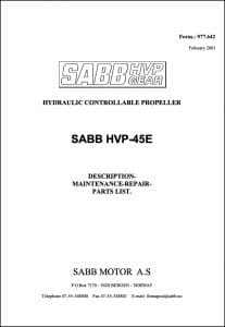 Sabb HVP-45E Hydraulic Propeller Maintenance Manual