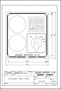 Sabb diesel engine Instrument Panel 951522 Drawing