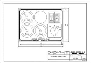 Sabb diesel engine Instrument Panel 951523 Drawing