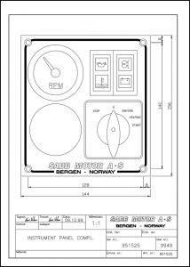 Sabb diesel engine Instrument Panel 951525 Drawing