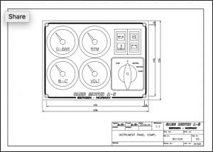 Sabb diesel engine Instrument Panel 951526 Drawing