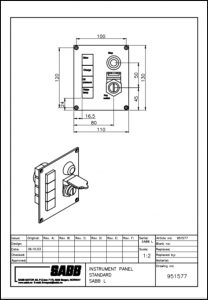 Sabb diesel engine Instrument Panel 951577 Drawing