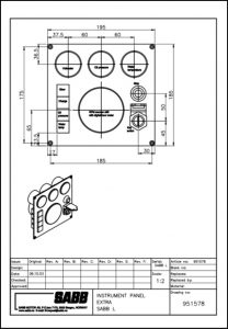Sabb diesel engine Instrument Panel 951578 Drawing