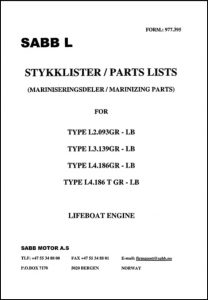 Sabb marine diesel engine L Series (Marinizing) Parts List