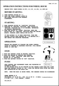 Sabb L2.093 marine diesel engine Wheelhouse Instruction Sheet No 1