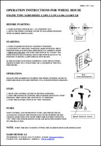Sabb L2.093 marine diesel engine Wheelhouse Operation Instruction Sheet No 2