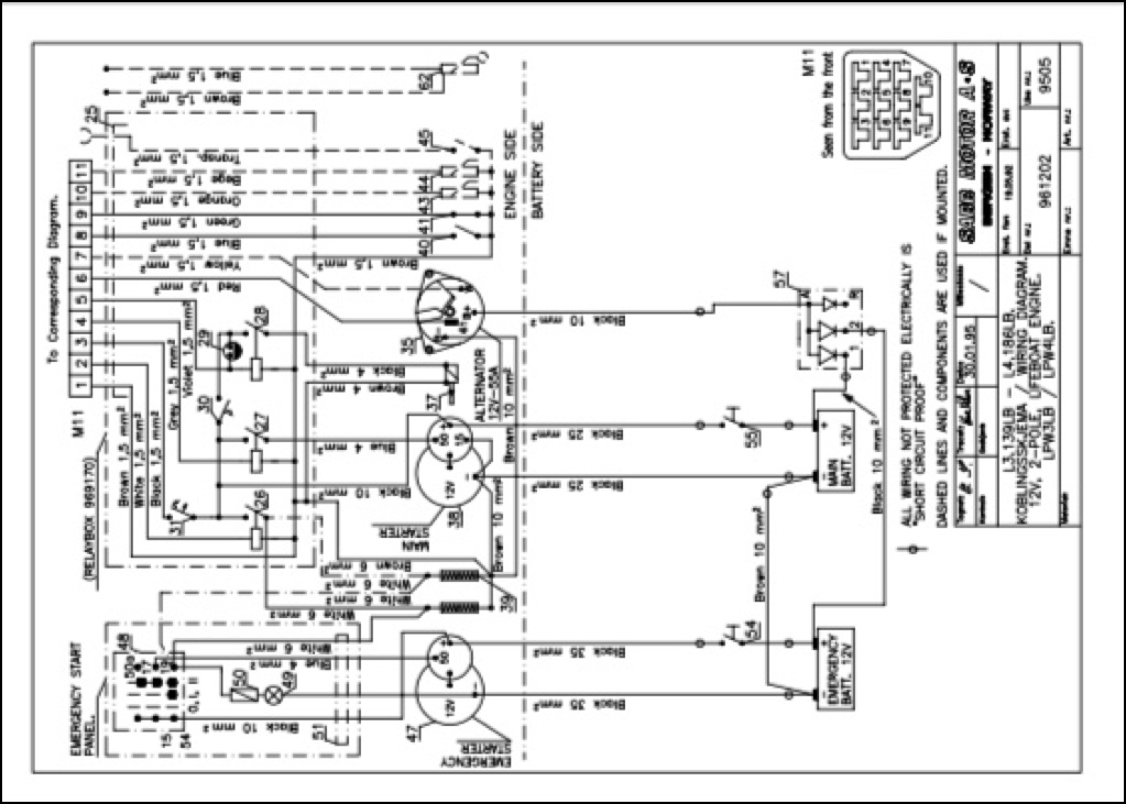 Sabb L3139LB lifeboat diesel    engine       Wiring       Diagram