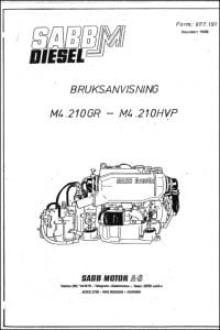 Sabb Mitsubishi M4.210GR diesel engine User Manual 1988 Swedish
