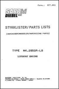 Sabb Mitsubishi M4.295GR-LB lifeboat diese engine Spare Parts Lists (marinizing)