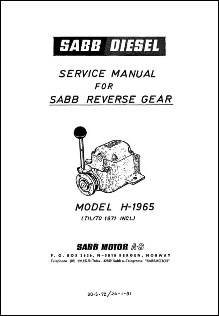 Sabb Model H-1965 Reverse Gear Service Manual