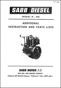 Sabb Model H diesel engine Additional Instruction and Parts List