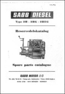 Sabb Type 2H Diesel Engine Spare Parts Catalogue