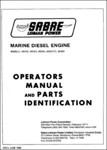 Sabre Lehman Ford 4D242 Marine Diesel Engine Operators Manual & Parts