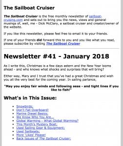 Sailboat Cruising review Jan 2018