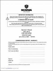 Scania DC12 diesel engine Operator's Manual