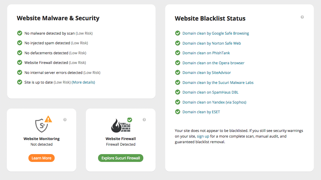 Securi website report. Last checked August 12th, 2018