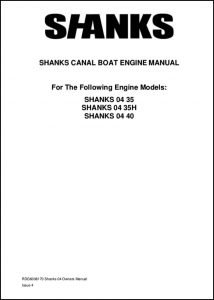 Shanks 04 Series Canal boat diesel engine Owners Manual