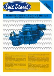 Sole HS121 Marine Diesel Engine Information Sheet