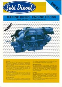 Sole HS150 Marine Diesel Engine Information Sheet