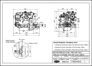 Sole Mini-29 diesel engine with TMC-40P transmission Drawing
