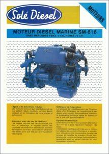 Sole SM-616 Mercedes marine diesel engine Datasheet in French