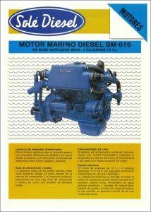 Sole SM-616 Mercedes marine diesel engine Datasheet in Spanish