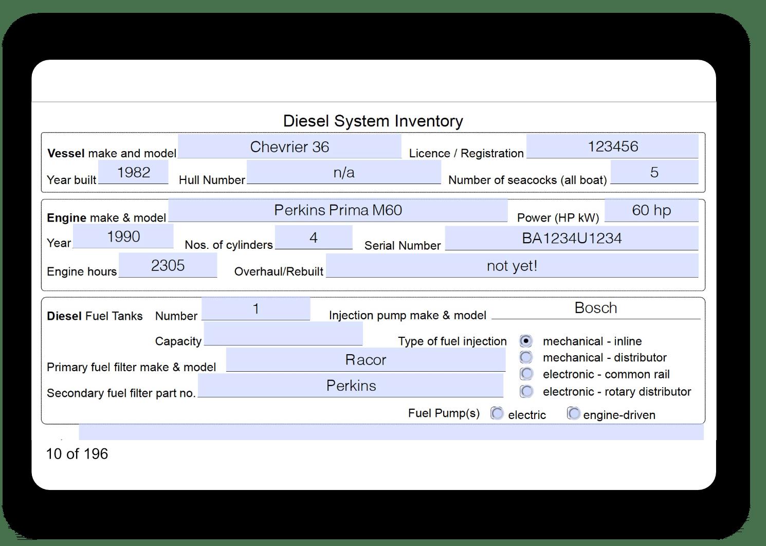 Mantenance eLogbook Marine Diesel Basics sample screen2
