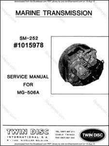 Twin Disc MG-506A marine transmission Service Manual